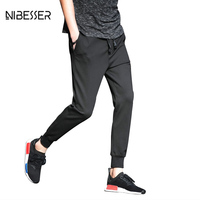 NIBESSER Brand Spring Summer Men Fitness Pants Drawstring Breathable Workout Trousers Slim Joggers Pants Leisure Bottoms Pants
