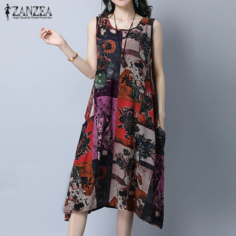 Zanzea النساء اللباس 2019 الأزياء خمر طباعة فساتين مثير أكمام عارضة فضفاض جيوب س الرقبة vestidos زائد الحجم XL-5XL