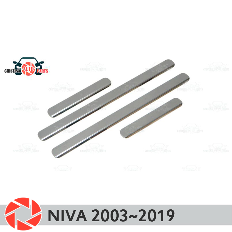 Door sills for Chevrolet Niva 2003~2019 step plate inner trim accessories protection scuff car styling decoration clear car door led logo ghost shadow light step projector welcome light laser lamp jesus fish puddle light for dodge ford 1524 white