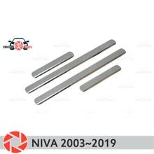 Пороги для Chevrolet Niva 2003 ~ 2019 шаг пластины внутренняя отделка интимные аксессуары защиты потертости стайлинга автомобилей украшения clear