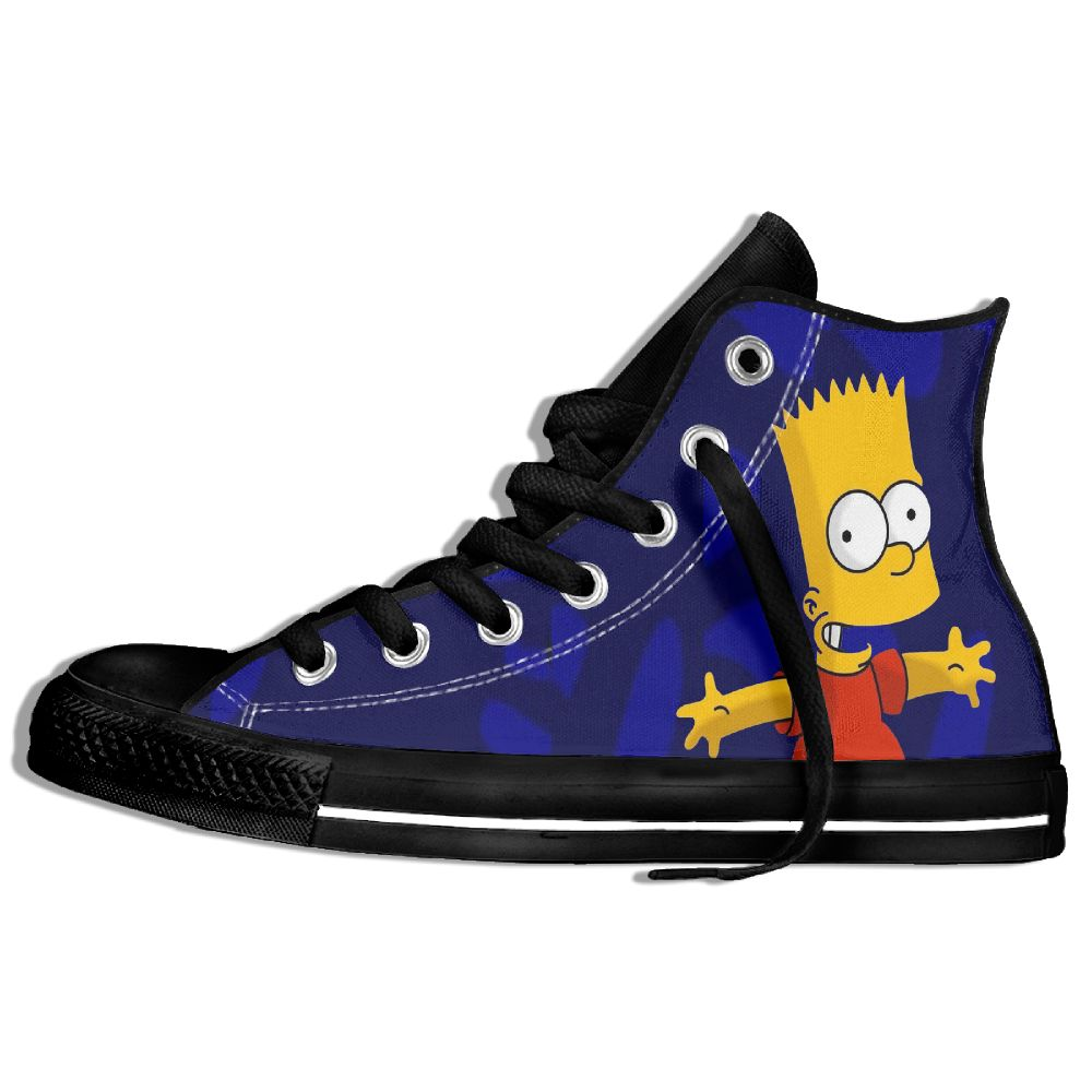 Classic Cartoon Character Bart <font><b>Simpson</b></font> High Top Lace-up Flat Canvas <font><b>Shoes</b></font> Light Sneaker