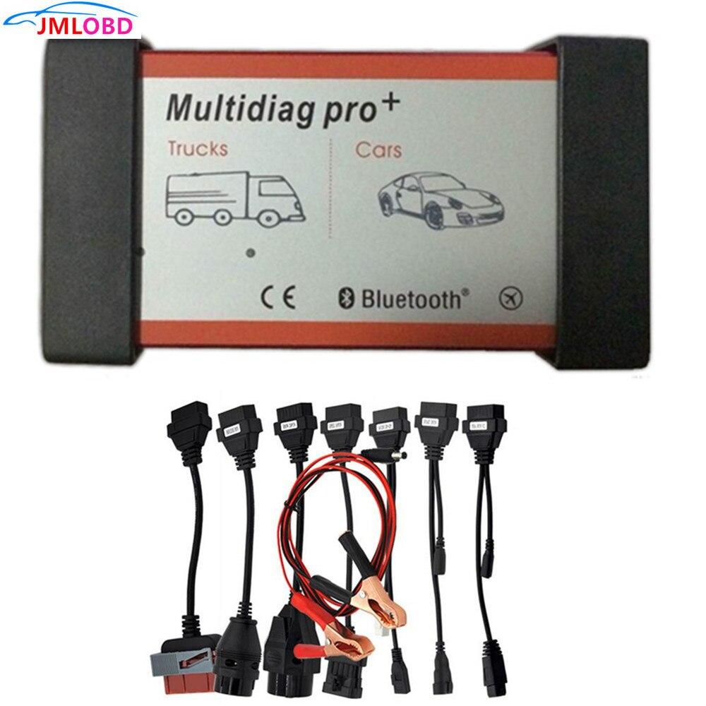 Qualité A Multidiag Pro + avec Bluetooth pour voitures camions OBD2 Scanner TCS cdp Pro outil de Diagnostic + câbles de voiture livraison gratuite