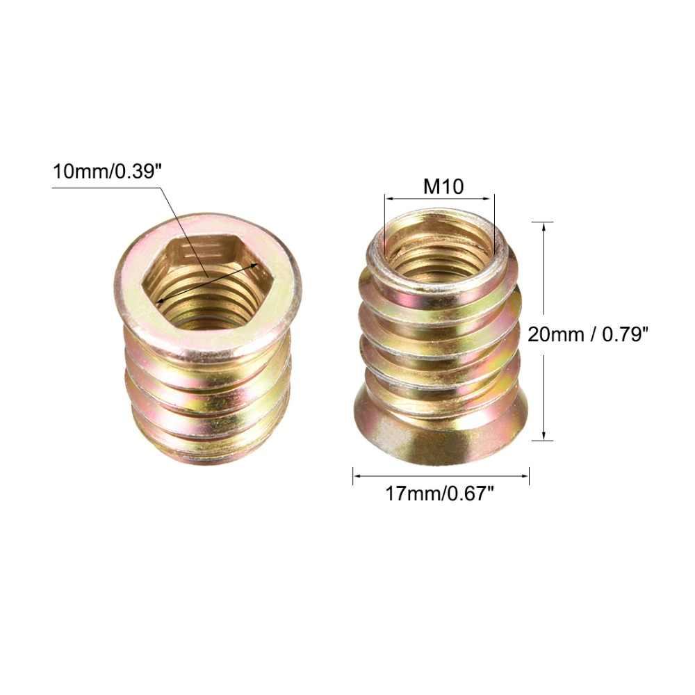 MroMax M10 x20mm Threaded Insert Nuts Zinc Alloy Hex Socket M10 Internal Threads 0.79 inch Length Bronze Tone 30pcs
