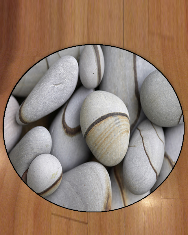 Else Gray Big Pebble Stones Brown Lines Nature 3d Pattern Print Anti Slip Back Round Carpets Area Rug For Living Rooms Bathroom