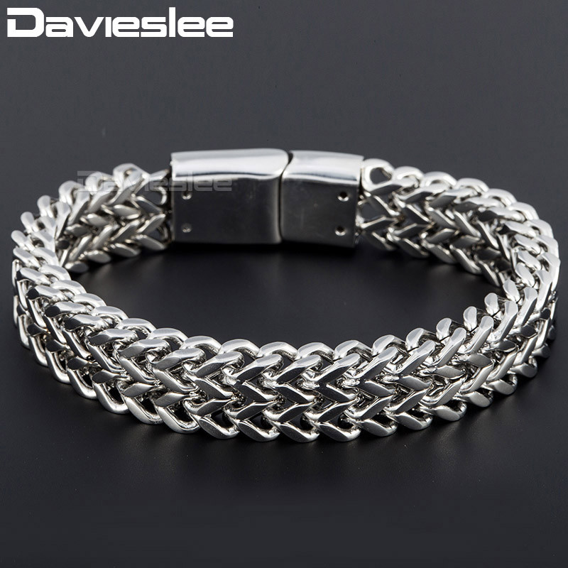 Davieslee Mens Wristband Foxtail Box Link 316L Stainless Steel Bracelet Bangle (12mm Wide ) DLHB343 foxtail