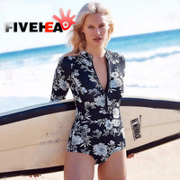 Floral Print One Piece Swimsuit Long Sleeve Swimwear Women Bathing Suit Retro Swimsuit Vintage One Piece