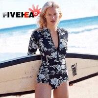 Floral Print One Piece Swimsuit Long Sleeve Swimwear Women Bathing Suit Retro Swimsuit Vintage One piece Surfing Swim Suits