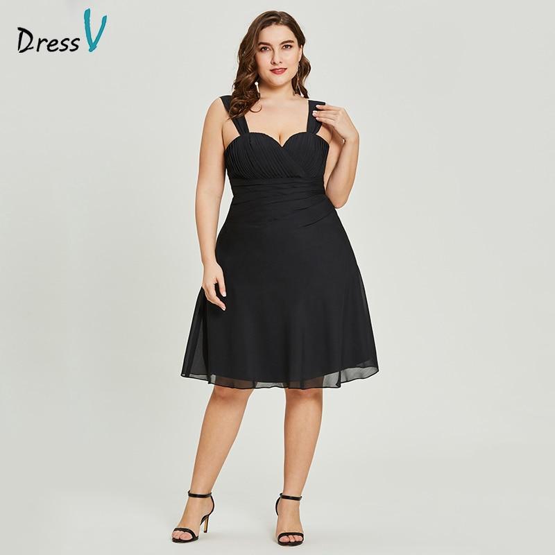 Dressv Black A Line Cocktail Dress Cheap Sweetheart Neck Knee Length Graduation Party Dress Elegant Fashion Cocktail Dress