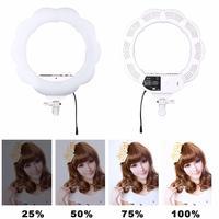 EACHSHOT ES384 Bi Color Ring LED Video Light Fill Light + Makeup Mirror 384pcs SMD LEDs 3000K 6000K Light for Studio Photography