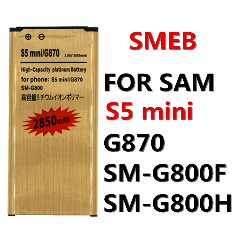 High capacity 2850mAh EB-BG800BBE for Samsung Galaxy S5 Mini Battery SV Mini S5 G870 SM-G800F SM-G800H G800 G870A G870W gold