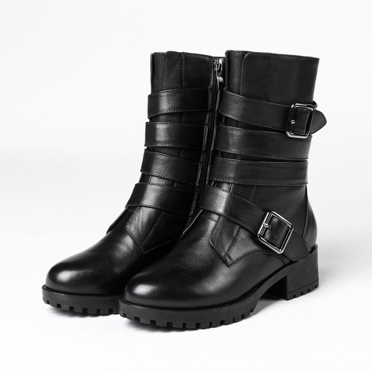 MLJUESE 2019 women Mid-calf boots cow leather winter warm fur buckle strap women motorcycle boots women martin boots sweet lace and buckle strap design women s mid calf boots