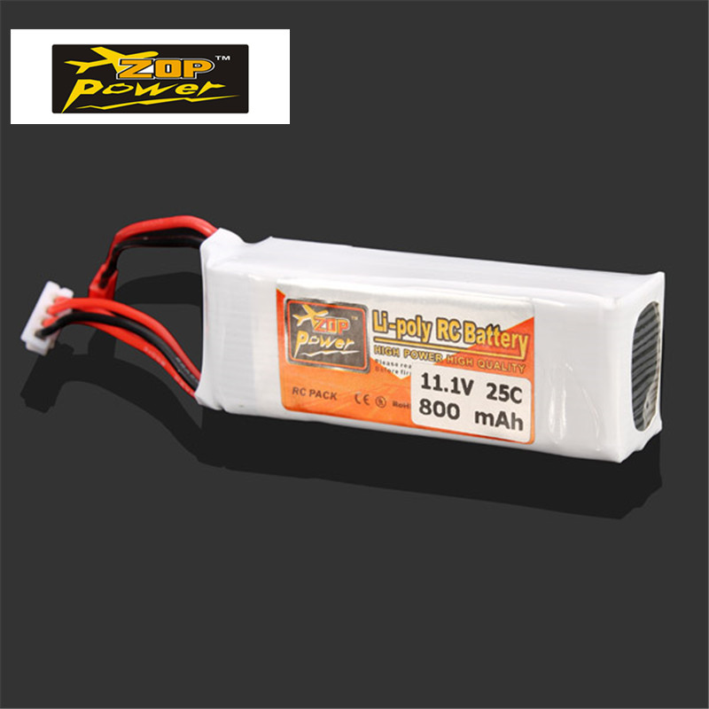 New Arrival Rechargeable Lipo Battery ZOP Power 11.1V 800MAH 3S 25C Lipo Battery JST Plug For RC Quadcopter Helicopter