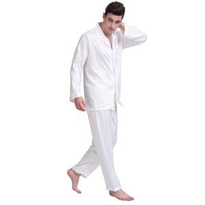 Image 3 - Мужской Шелковый Атласный пижамный комплект, пижамный комплект PJS Пижама, комплект для отдыха США, M,L,XL,2XL,3XLL,4XL Plus полосатый