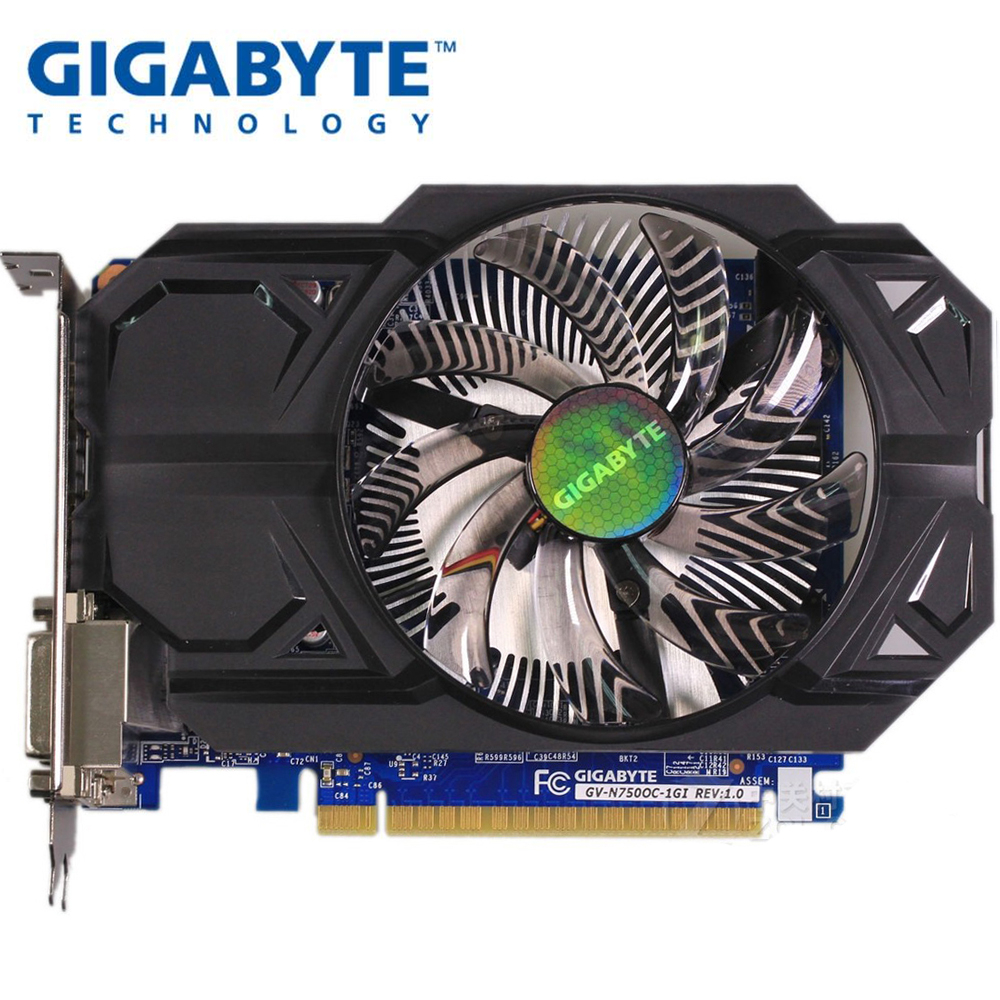 Used GIGABYTE GTX 750 1G Graphics Card Dual HDMI Dual DVI Short Size For ITX Computer Case Support LOL PUBG CSGO