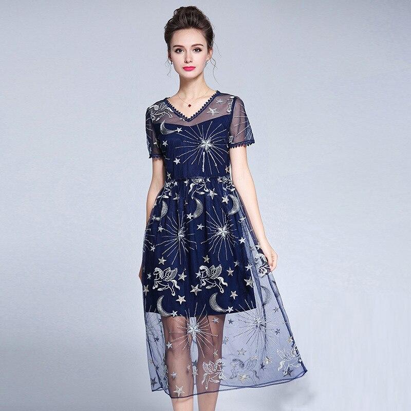 US $46.13 25% OFF|Runway 2018 Catwalk Star Embroidery Mesh Women Plus Size  Dress 4XL 5XL Short Sleeve V Neck Mid Calf Elegant Summer Dress Lady-in ...
