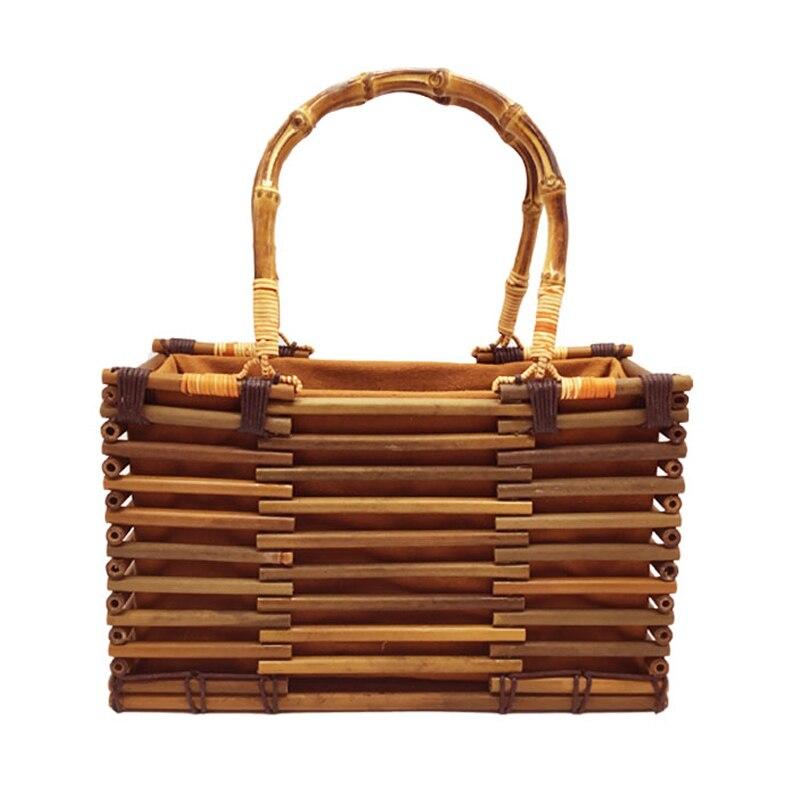 vWomen Vintage Bamboo Bag Drawstring Female Beach Straw Handbag Bohemian Hollow Lady Knit Bags Handmade Rattan Woven Tote SS3054 black drawstring bucket woven beach bag