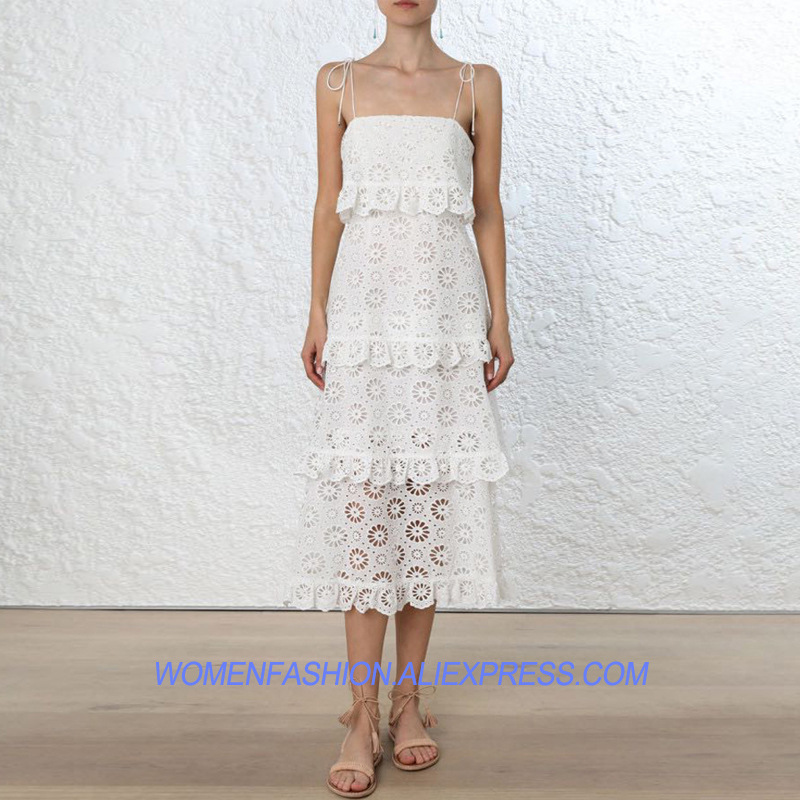 Summer Strap White Ruffles Dress Hollow out Fringed Dresses Women Holidays 2018 Runway Design Ruffles New Fashion Clothing
