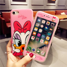 ФОТО cartoon cute 360 full cover phone cases + tempered glass screen protector for iphone x 6 6s 7 8 plus iphonex for iphone 8 coque