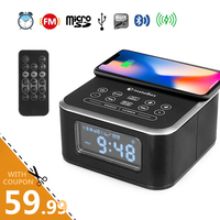 InstaBox W33 FM Radio with Bluetooth Speaker Alarm MP3 Player Support Wireless Charger for iPhone Samsung Remote Control Clock