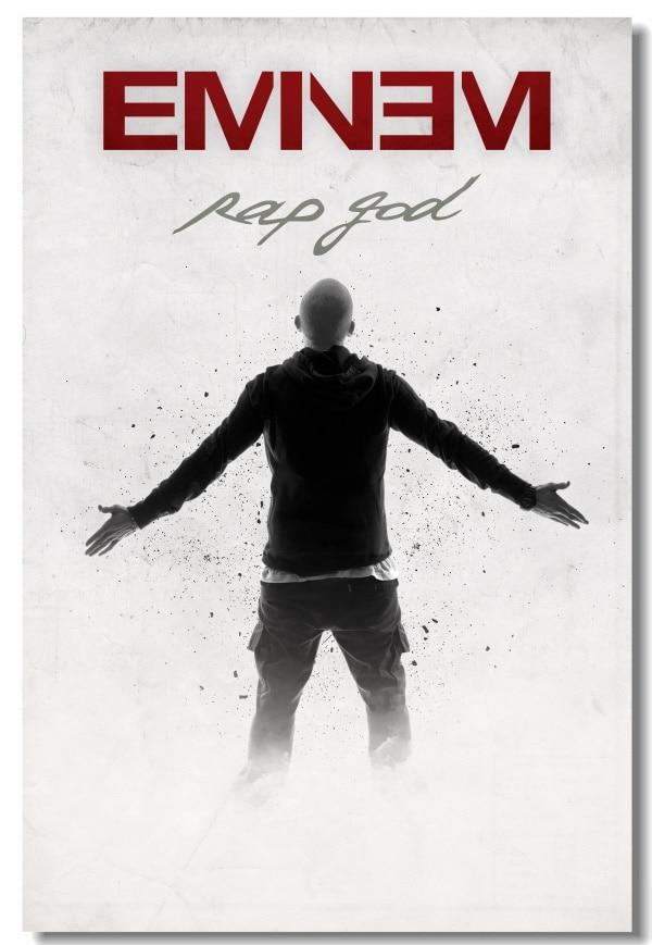 Custom Canvas Wall Murals Eminem Poster Eminem Rap God Stickers Office Decals Hip Hop Wall