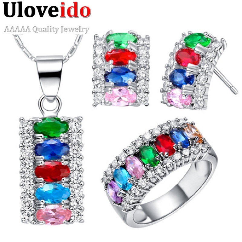 Uloveido Costume Ring Jewelry-Set Bridesmaid Fashion Cheap Silver Crystal 40%Off-T499