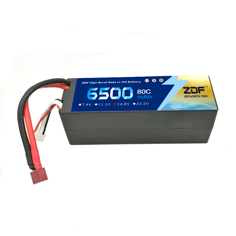 ZDF Lipo 4S 14.8V Lipo Battery 6500mAh 80C 160C Hard Case TRX High Discharger Rate For RC Car Helicopter Boat image