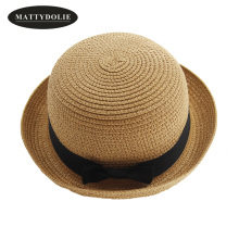 MATTYDOLIE Straw hat girl and boy summer bow tie ladies men fold beach sun parent-child couple