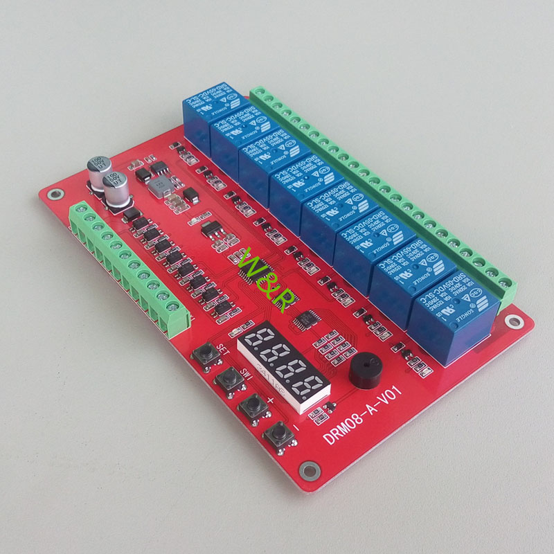 210cf80bd687a72 DRM08/eight-way multi-function relay module / delay self-locking cycle  timing linkage control