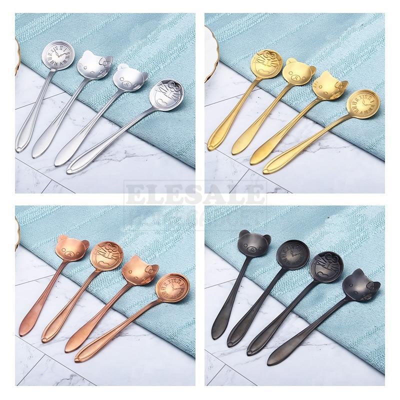 4pcs Color Cute Doraemon Hello Kitty Stainless Steel Dessert Coffee Tea Spoon For Kitchen Coffee Dessert Shop Accessories Gift