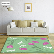 Carpet For Bedroom Living Room Tulips Dragonflies Natural Plant Flower Set  Silhouettes Old English Pastel Digital