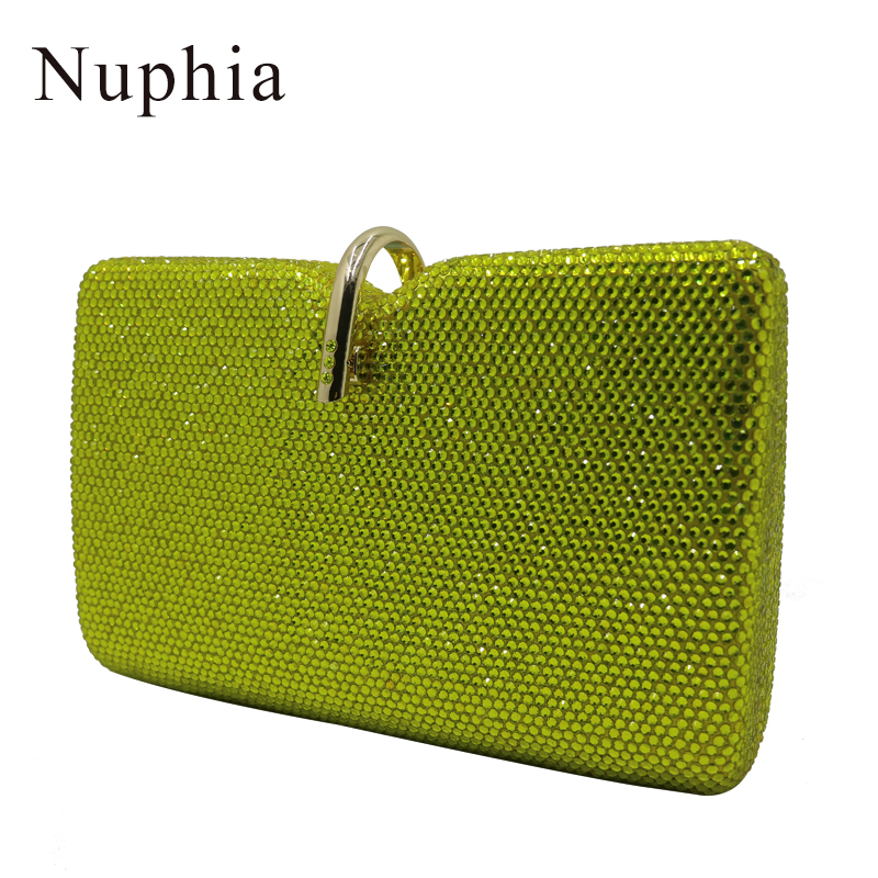 Nuphia Women Party Metal Crystal Clutches Evening Bags Wedding Bag Bridal Shoulder Handbag Wristlets Clutch Purse