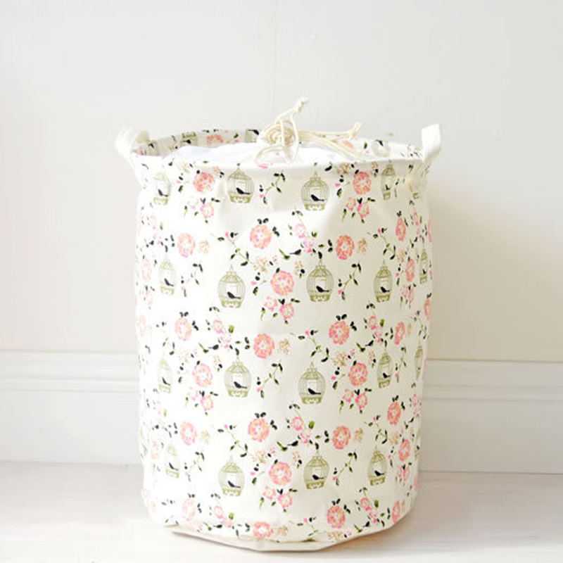 Pastoral Cotton Fabric Laundry Basket Bag Dirty Pouch Folding Laundry Storage Basket for Toys Bracelet Laundry Bag