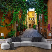 Small town street Street view 3d wall professional production wallpaper mural custom photo whole house