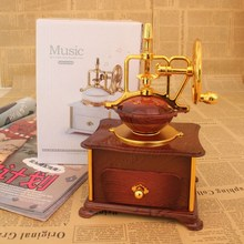 Classic Coffee Machine Design Music Box Musical Case Jewelry Box Drawer Vintage Music Box Birthday Wedding Gifts Home Decoration