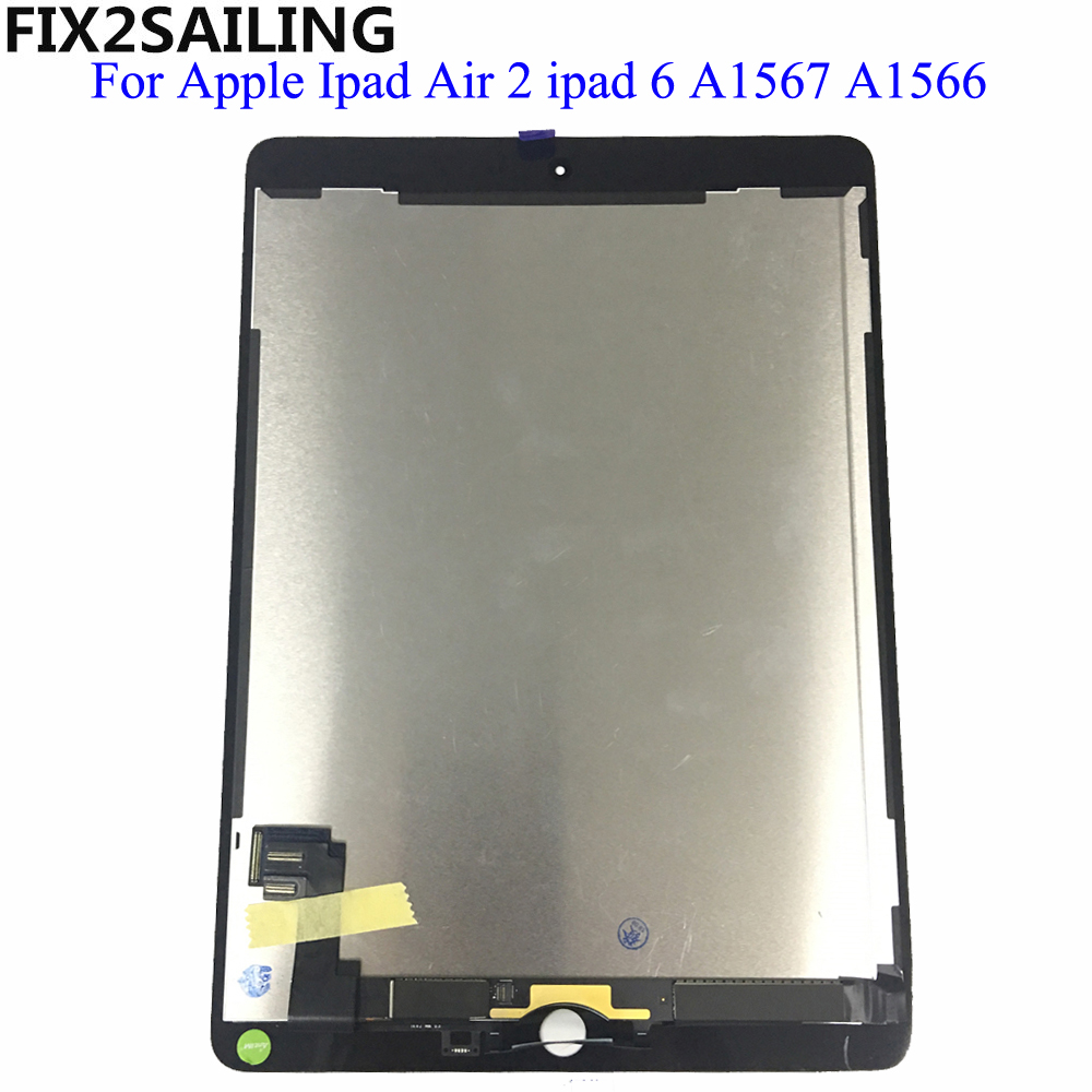 For Apple iPad 6 Air 2 A1567 A1566 9.7'' 100% AAA+ Grade LCD Display Touch Screen Digitizer Assembly Replacement 9.7 black grade a lcd display touch digitizer complete screen with frame full assembly replacement for iphone 6 6s iphone 6 6s plu