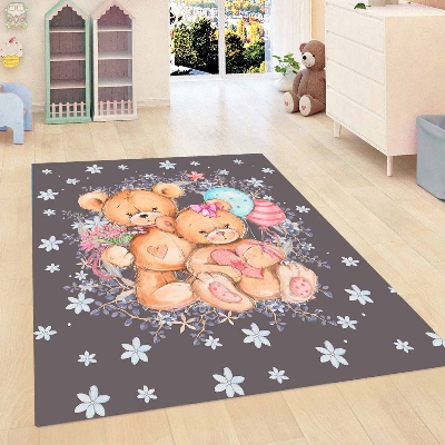 Else Blue Floor Funny Rabbits Snow Stars Flowers 3d Print Non Slip Microfiber Children Kids Room Decorative Area Rug Mat