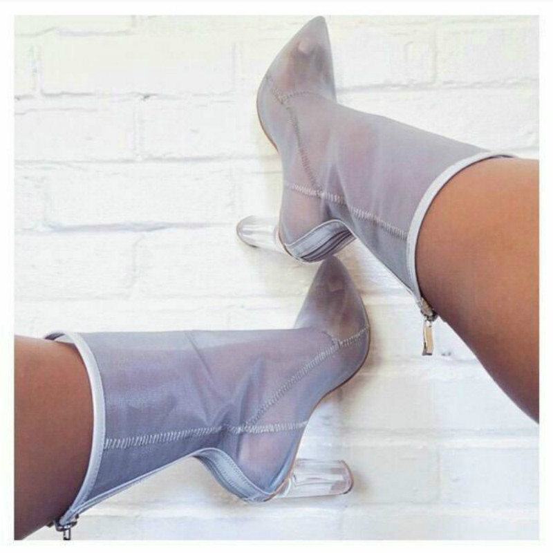 Plus Size 47 Women Mesh Ankle Boots Sexy Pointed Toe High Heels Boots Women Transparent PVC Booties Dress Shoes Boot 2019 Spring in Ankle Boots from Shoes