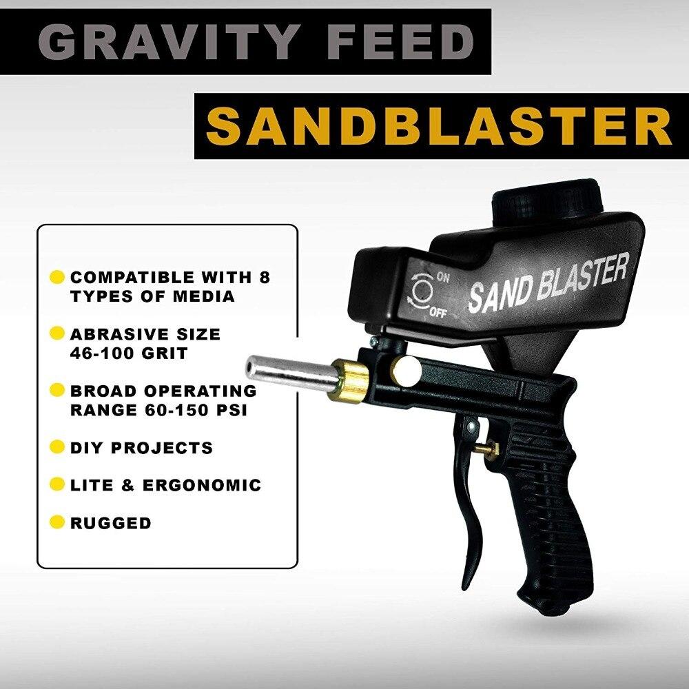 LEMATEC Gravity Feed Sabbiatura Pistola Ad Aria Sabbiatura Portatile Nero Velocità Blaster Pistola A Spruzzo di Sabbia per Ruggine Rimozione Sabbiatrice