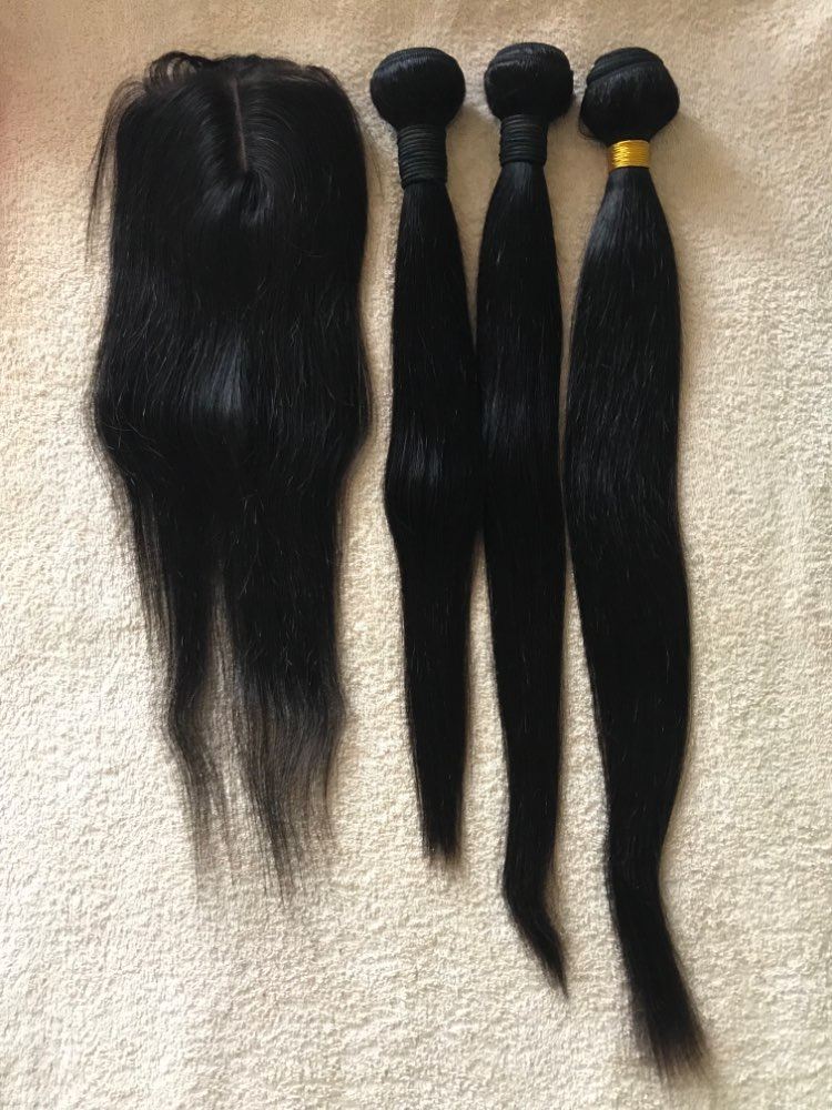Satai Straight Hair Bundles With Closure Human Hair Bundles With Closure Brazilian Hair Weave Bundles Non Remy Hair Extension