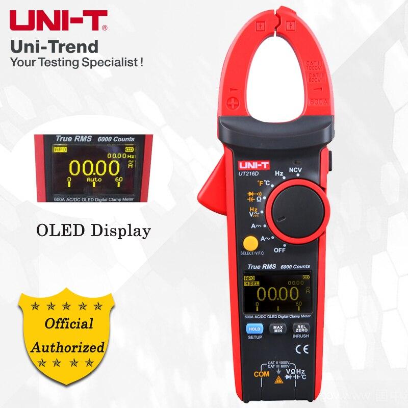 UNI-T UT216D 600A Vrai RMS Pince Multimètre Numérique; AC/DC True RMS Actuel Mètre, VFC/PCI; Résistance/Condensateur/Fréquence/Température