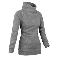 New Fashion Women S Hoodies Spring Autumn Decorative Button Delicate Cowl Neck High Quality Casual Long