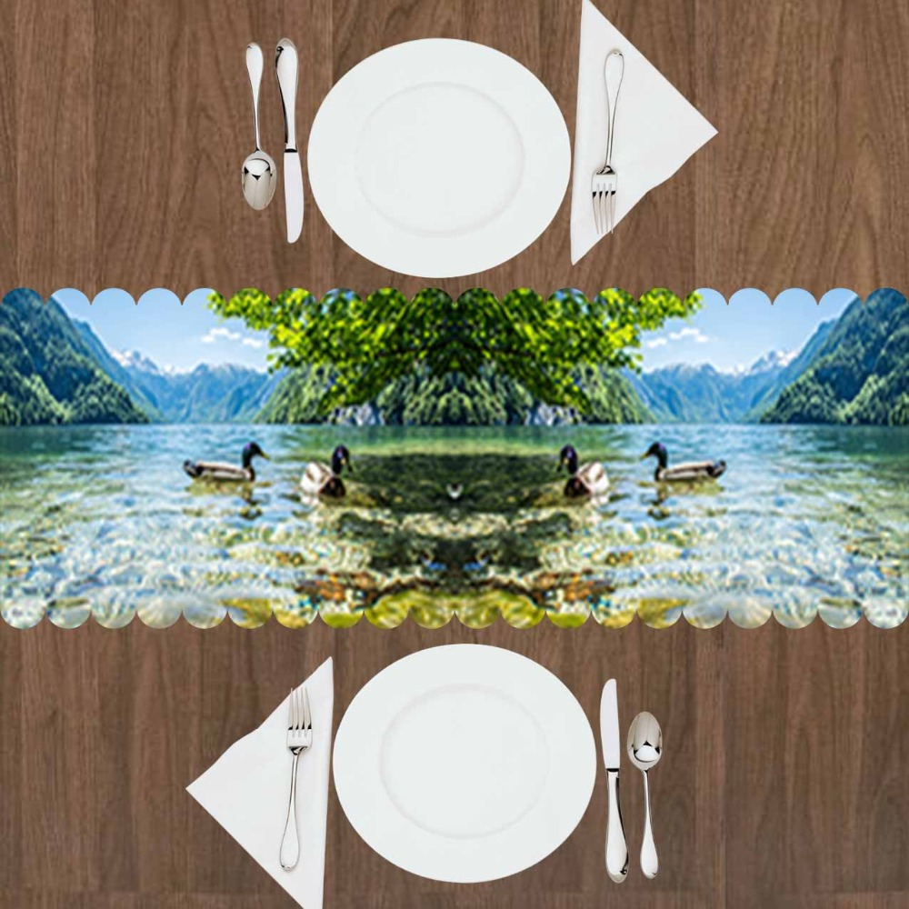 Else Green Trees Blue Lake Ducks Animals Floral Nature 3d Print Pattern Modern Table Runner For Kitchen Dining Room Tablecloth