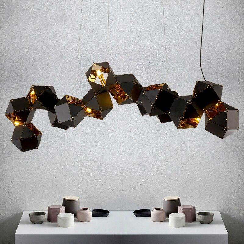 Welles Della Sospensione DNA Moderno Metallo Creativo Bianco/Nero Lungo/Circolare Può Scegliere Lampada di Design Per Il Ristorante Studio casa