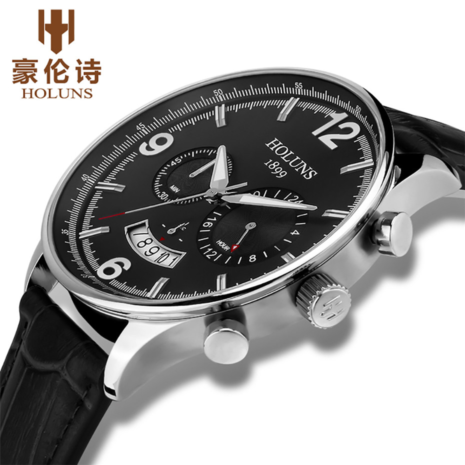 HOLUNS Men Leather Strap Watch 24 Hour Quartz Watches Casual Wristwatch Water Resistant Luxury Round Glass Dial Clock цена и фото