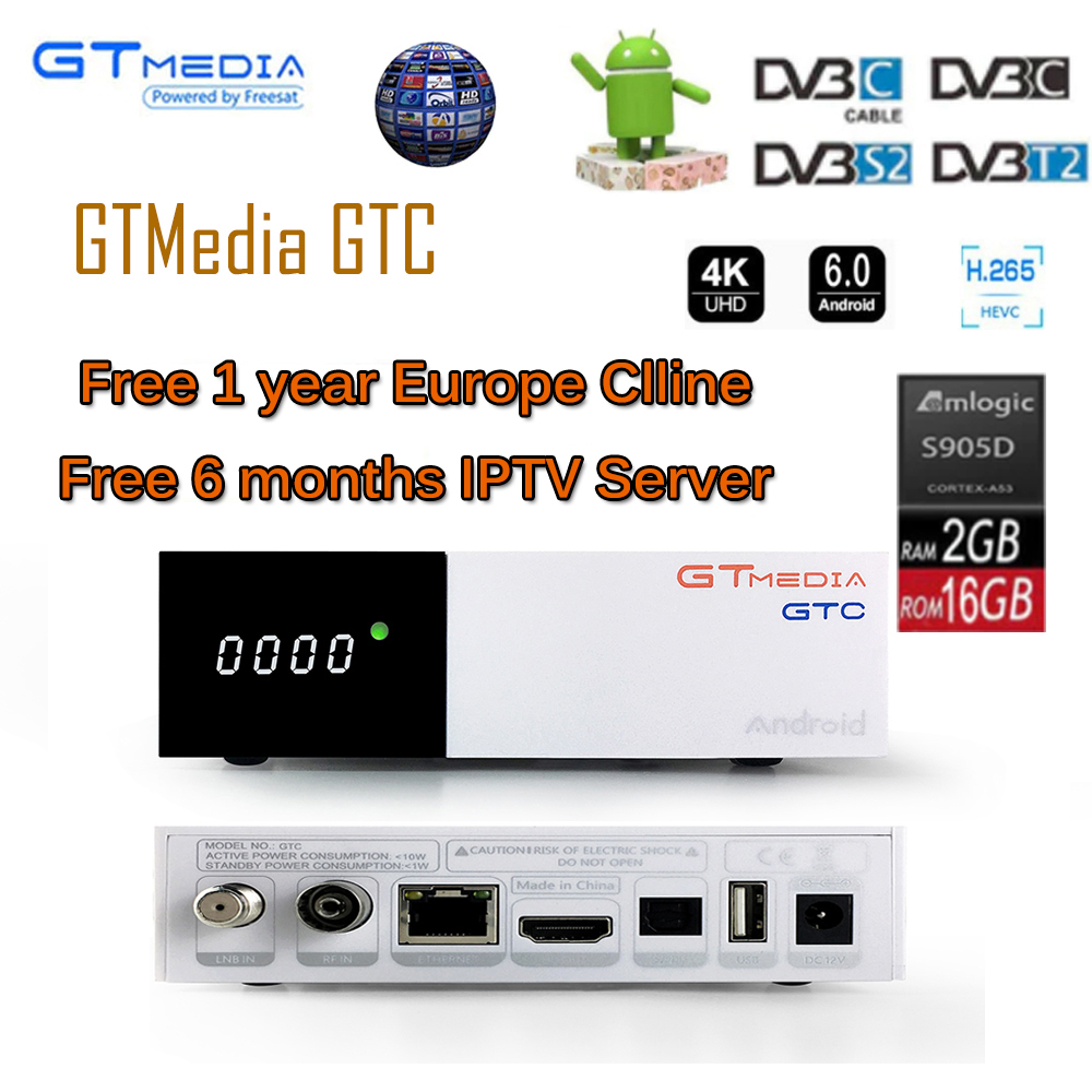 все цены на Freesat GTC decoder DVB-S2 DVB-C DVB-T2 S905D android 6.0 TV BOX 2GB 16GB +1 Year cccam +6 months IPTV Satellite TV Receiver онлайн