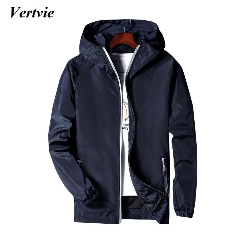 Vertvie Zipper Hooded Solid Sport Jacket Running Hiking Fishing Sportswear Costumes For Men Sports Suit Windbreaker Tracksuits