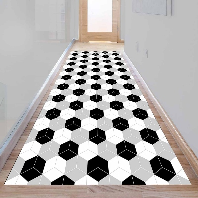 Else Gray Black White Cubes Boxes Geometric 3d Print Non Slip Microfiber Washable Long Runner Mat Floor Mat Rugs Hallway Carpets