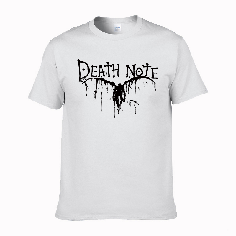 Cool Brand Quality Japanese Cartoon Comic Death Note Men Short Sleeve Round Neck t-shirt Death Note T Shirt cotton tops tees #02