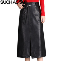 SUCH AS SU Brand New Fall Winter PU Leather Skirts Womens Black Mid Long Skirt S XXXL Size Ladies High Waist A Line Skirts