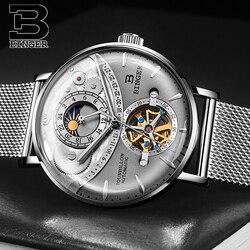 Switzerland Automatic Watch Men BINGER skeleton Mechanical Men Watches Fashion Brand Sapphire Relogio Masculino Waterproof 2018